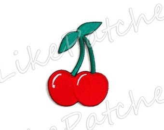 Couple Cherry Fruit New Sew / Iron On Patch Embroidered Applique Size 5.7cm.x8.2cm.