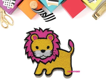 Yellow Lion Pink Hair Cute Animal Cartoon New Sew / Iron On Patch Embroidered Applique Size 5.3cm.x5cm.