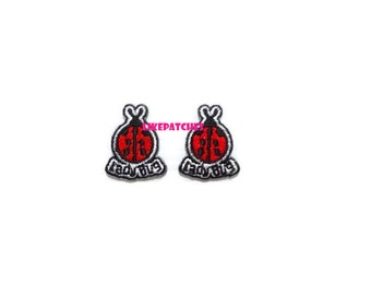 Set 2pcs. Mini Ladybug Cute Animal Cartoon New Sew / Iron On Patch Embroidered Applique Size 2.1cm.x2.6cm.