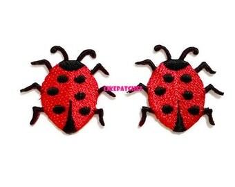 Set 2pcs. Little Ladybug - Red Ladybug New Sew on / Iron On Patch Embroidered Applique Size 3.7cm.x3.4cm.