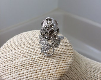 Sterling silver Clark and Coombs marcasite rose ring size 7.5 made anytime between 1946 and 1950