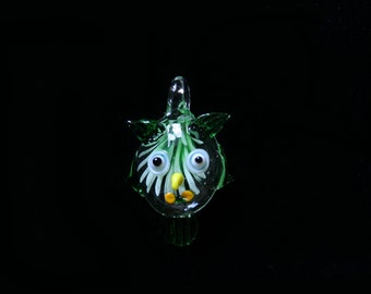 An attractive Lampwork glass Owl pendant with a Leather cord necklace.