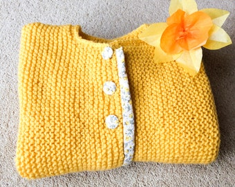 Yellow knitted cardigan with liberty, girl sweater, knitted baby clothes, 1 year old jumper, first birthday gift, kids knitted top, baby top