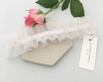 Ivory wedding garter, Tulle bridal garter, Wedding garter, Crystal wedding garter, ballet garter, sparkle bridal garter