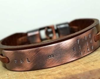 EXPRESS SHIPP Mens Bracelet,Personalized Leather Bracelet,Custom Mens Leather Bracelet,Personalized Men Bracelet,Christmas gift for Him/Her