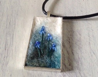Needle felted embroidered cabochon necklace