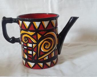 Liz Ellard.'Queen of Hearts', small hand painted jug.