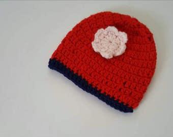TODDLER BEANIE HAT with flower motif,