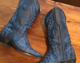 Dan Post western cowboy cowgirl boots ostrich quill blue stitching leather