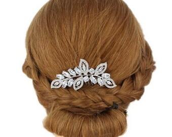 Crystal Bridal Haircomb, Silver Bridal Hairpiece , Vintage Bridal Hair Accesory, Romantic Wedding Haircomb