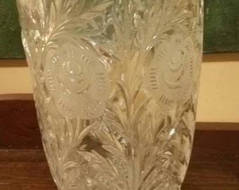 Large Pressed Glass Vase
