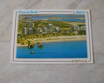 Vintage Used Portugese postcard 1980s Praia da Rocha Algarve beach resort from Portugal stamped postmark SKU F (X)