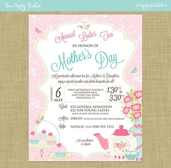 Mother'S Day Tea Social Flyer Invitation Postcard Poster