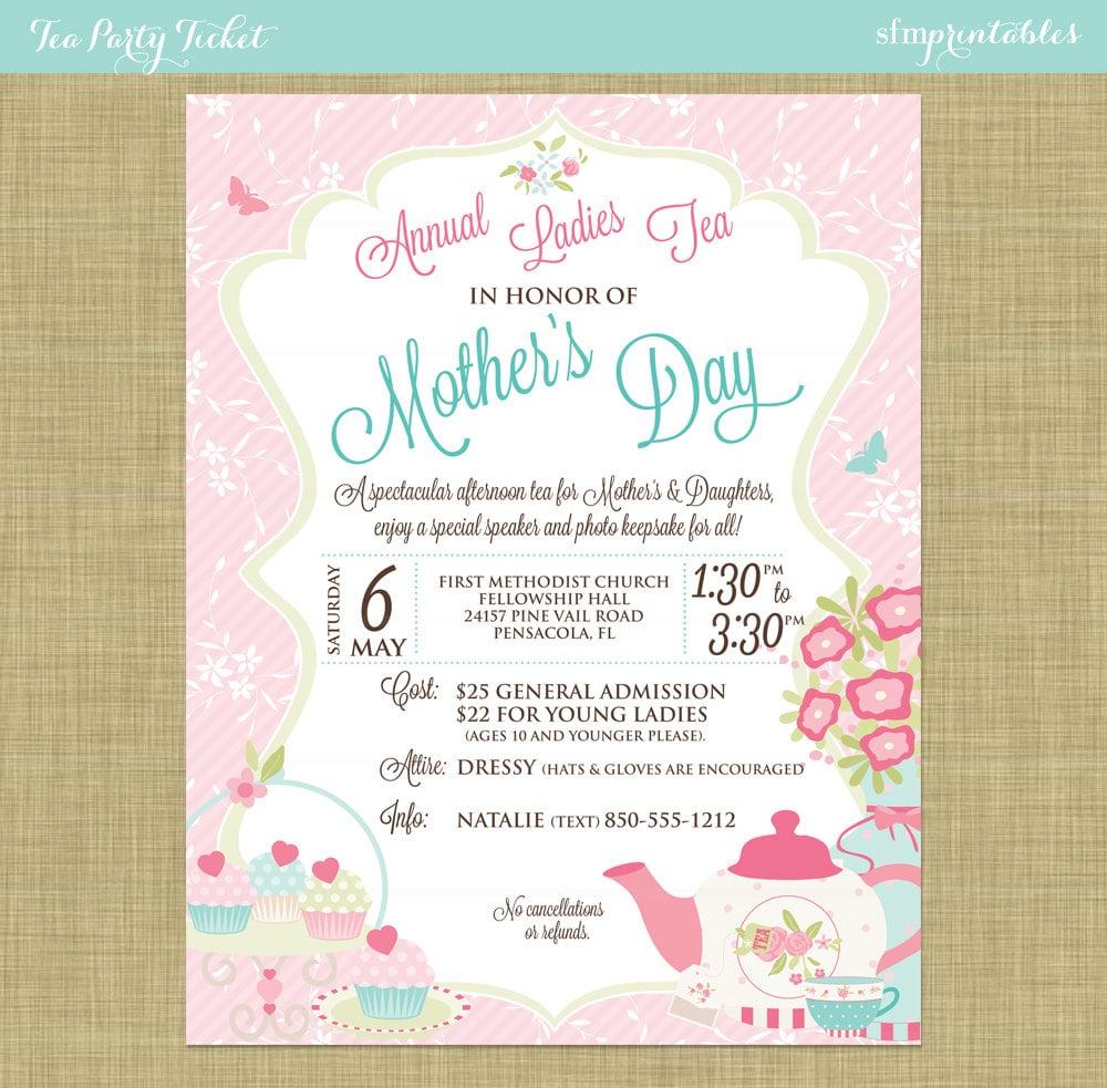 Mother's Day Tea Social Flyer Invitation Postcard Poster