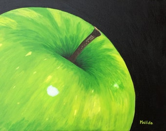 Green Apple Painting, Original Fruit Painting, Apple Art, Dining Room Decor, Kitchen Decor, Still Life, MelidasArt