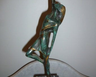 Rare French Art Deco Lady bronze marble trophy circa 1920