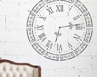 Wall Floor Furniture Stencil - ALICE Shabby Chic Vintage Clock Stencil - CL001