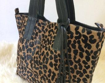 Cowhide  Purse! Leopard Stenciled Unique Piece! Cow Hide Handabg. Leather Bag