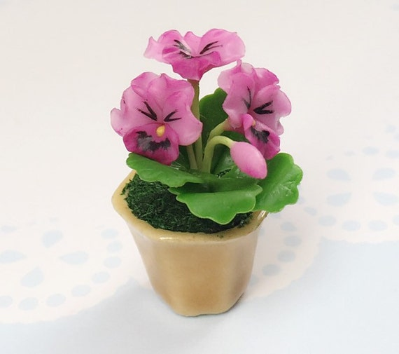 Miniature Flower,Miniature Flower Pot,Miniature Vase,Dollhouse Flower,Miniature Garden,Dollhouse Flower Pot,Miniature Pink Pansy Flower