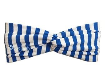 Headband Blue Stripe, Pretty Hair Band, Twist Hairbands, Stretchy Turban Headband, Boho Headbands, Yoga Headband, Running Hairband