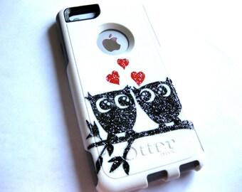 otterbox iphone 6/7plus case, Iphone 6/7plus case, Glitter case, Iphone cover, custom otterbox iphone 6plus, gift, Owl iphone 7plus case