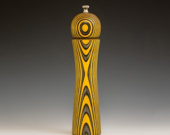 """Colorful, Handmade 10"""" Peppermill - Laminated , bright yellow and black"""