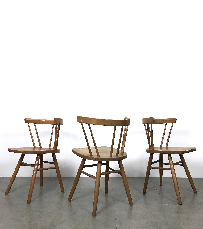 Set of Eight Vintage Nakashima Style Spindle Back Dining Chairs 1950 s