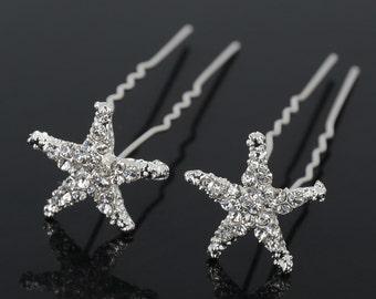 Crystal Off Rhinestone Star fish bride wedding hair Pin (Set of 3), starfish hair accessories, starfish hairclip, bridal hairpins,hair pins