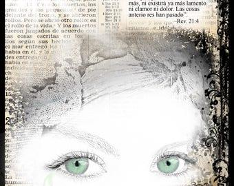 """Impresión 8x10  """"Limpiará Toda Lágrima """" Ojos Verde"""