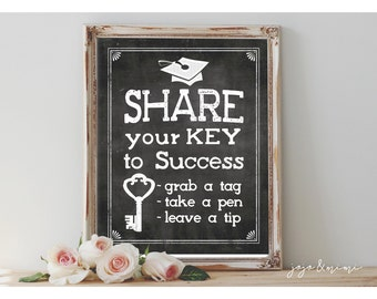 Instant 'Share your Key to Success' Printable Graduation Party Decor Chalkboard Sign Size Options