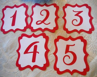 SET of Wedding-Birthday-Baby Shower Table Number Cards , Red/White bracket design