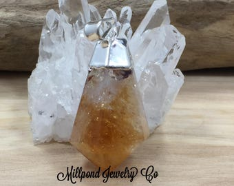 Citrine Point Pendant, Citrine Pendants, Citrine Charms, Natural Stone Pendants, Teardrop Point, Silver Plated