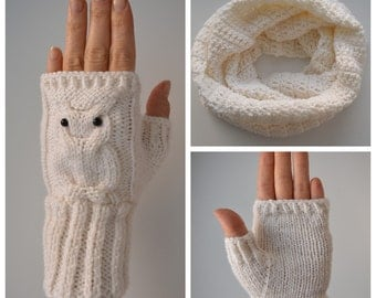 Snood and mittens owls, crochet, knitted, knitted snood, infinity scarf, crochet accessories, womens accessories, fingerless gloves