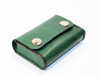 Credit Card Holder leather , Business Card Holder, Green Leather Credit Card Wallet, Green Card Holder. Great Gift.
