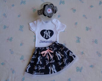 New York Yankees Personalized Baby Girl Bodysuit, Skirt and Headband