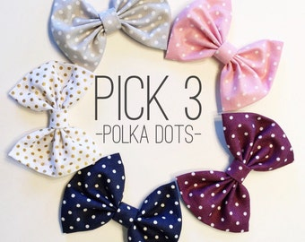 Choose 3: Polka Dot Set - baby bow - newborn headband - bow headband