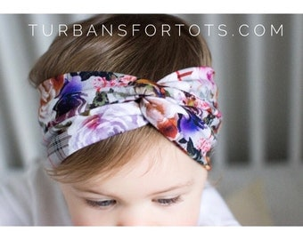 ADULT Plaid & Petunias - turban headband