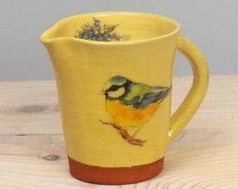 Bird lovers gift, Bird jug, Bird pitcher, Handmade jug, handmade pitcher, blue tit jug, pottery jug, milk jug, terracotta jug