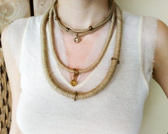 Tribal rope necklace, boho layered necklace, Hemp statement necklace, bohemian mother of the bride jewelry, rustic bridal jewelry jewelry