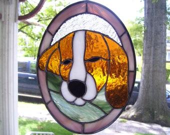 Stained Glass Sleepy  Beagle Dog Sun catcher