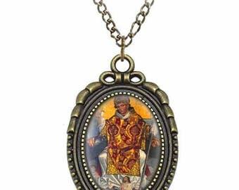 St Stanislaus of Szczepanow Catholic Necklace Bronze Medal w Chain Oval Pendant Saint Vintage