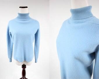 1960's Powder Blue Wool Turtle-neck Pullover Scottish Sweater