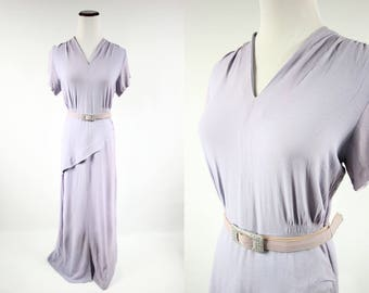 1940's Lilac Evening Dress w/ Rhinestone Belt