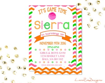 Basketball Birthday Invitation,  Basketball Invitation, Queen of the Court