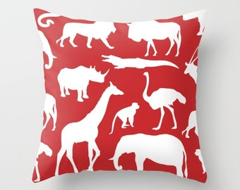 Safari Animals Pillow With Insert - African Animals Pillow Cover - Safari Decor - Red Pillow Cover - Boy Bedroom Decor - Accent Pillow