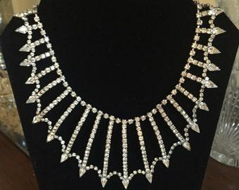 Rare Gorgeous Vintage 1950's Kramer Rhinestone Bib Necklace