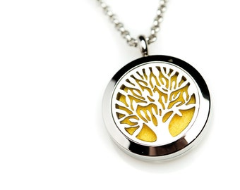 Stainless Steel Tree of Life Essential Oil Diffuser Necklace