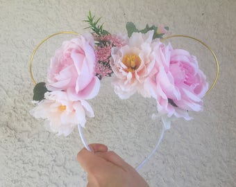 Pink Rose Garden Floral Mickey Mouse Ears