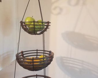 Wooden Three Tiered Hanging Fruit Basket