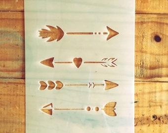 Arrows stencil (Set of 4) for home wall interior decor / Craft Decor